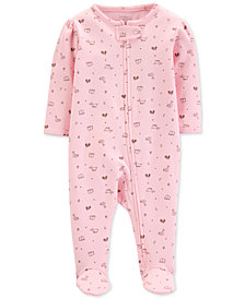 Carter's Little Planet Organics Baby Girls Animal-Print Footed Cotton Coverall