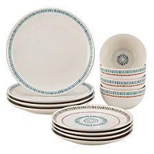Rachael Ray Cucina Sun Daisy 12-Piece Stoneware Dinnerware Set