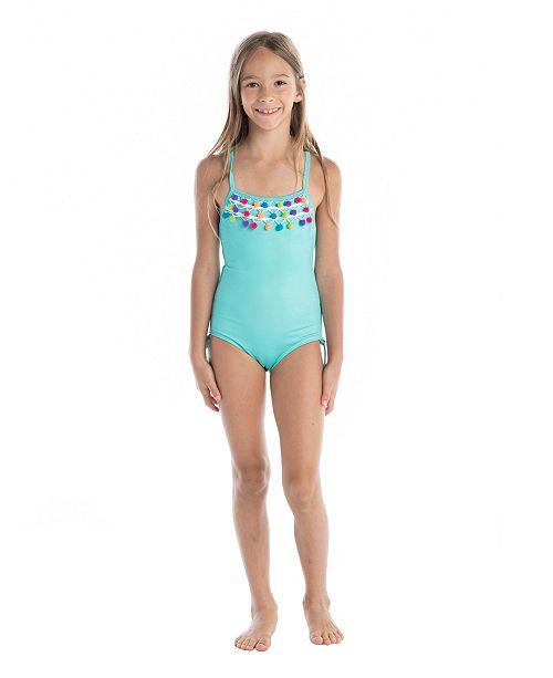 b5441afa05 Masala Baby Girl's Crossback Pom Pom One Piece Turquoise - Sets ...