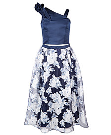 Nanette Lepore Big Girls 2-Pc. Satin Top & Floral-Print Skirt Set