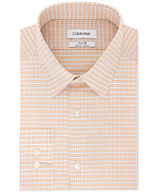 Calvin Klein Men's Steel Slim-Fit Performance Stretch Moisture-Wicking Non-Iron Orange Check Dress Shirt