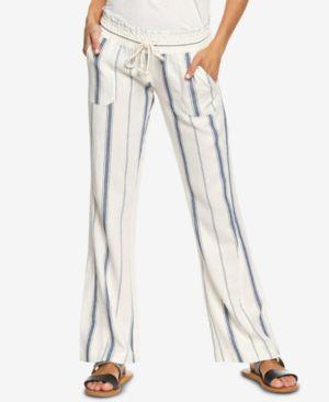 ROXY Juniors' Oceanside Striped Soft Pants in Marshmallow Tea Party Stripe