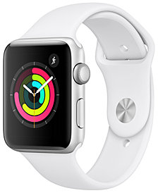 AppleWatch Series3 GPS, 42mm Silver Aluminum Case with White Sport Band