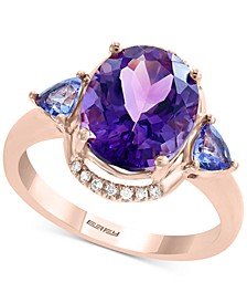 EFFY® Multi-Gemstone (3-7/8 ct. t.w.): Amethyst, Tanzanite &  Diamond Accent Ring in 14k Rose Gold