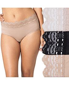 Olga Women's 3-Pk. Plus Size Secret Hug Lace Trim Hipster 913J3