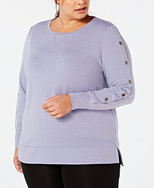 Ideology Plus Size Snap-Sleeve Top, Created for Macy's