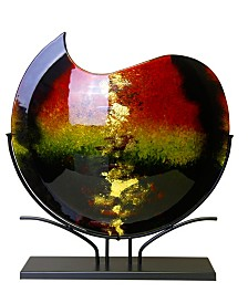 """20"""" x 18"""" Round Fused Glass Vase with Metal Stand"""