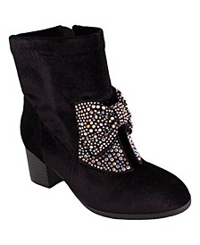 Jessica Simpson Youth Kids Black Velvet Boot with Bow