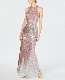 Vince Camuto Halter-Top Ombré Sequin Gown