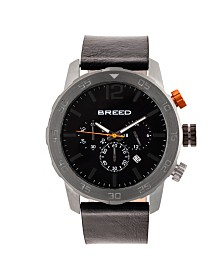 Breed Quartz Manuel Chronograph Gunmetal And Black Genuine Leather Watches 46mm