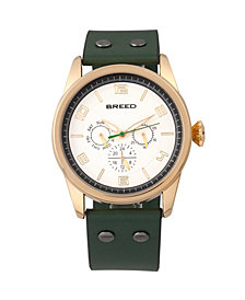 Breed Quartz Rio Gold And Green Genuine Leather Watches 43mm