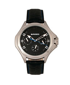 Quartz Tempe Black And Silver Genuine Leather Watches 43mm