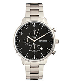Breed Quartz Holden Chronograph Silver And Black Alloy Watches 45mm