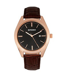 Breed Quartz Louis Rose Gold And Brown And Black Genuine Leather Watches 42mm