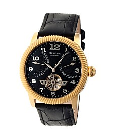 Heritor Automatic Piccard Gold & Black Leather Watches 44mm