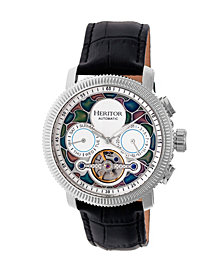 Heritor Automatic Aura Silver & White Leather Watches 44mm