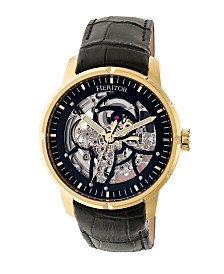 Heritor Automatic Ryder Black & Gold & Black Leather Watches 44mm