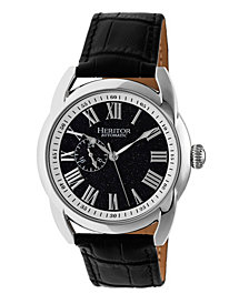 Heritor Automatic Marcus Silver & Navy Leather Watches 43mm