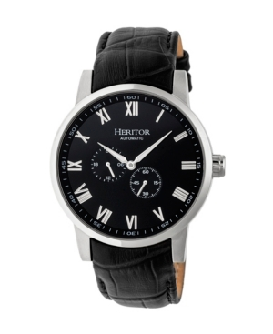 Automatic Romulus Silver & Black Leather Watches 44mm