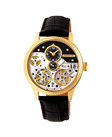 Heritor Automatic Winthrop Gold & Black Leather Watches 41mm
