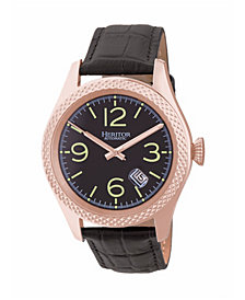 Heritor Automatic Barnes Rose Gold & Black Leather Watches 44mm