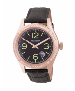 Automatic Barnes Rose Gold & Black Leather Watches 44mm