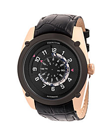 Heritor Automatic Daniels Rose Gold & Black Leather Watches 43mm