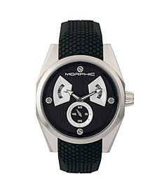 M34 Series, Silver/Black Silicone Watch, 44mm