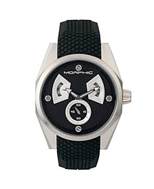 Morphic M34 Series, Silver/Black Silicone Watch, 44mm