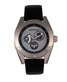 Morphic M46 Series, Black Case, Charcoal Leather Band Men's Watch w/Date, 44mm