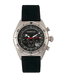 Morphic M53 Series, Silver Case, Chronograph Fiber Weaved Black Leather Band Watch w/Date, 45mm