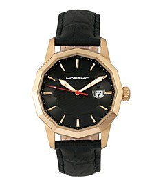 M56 Series, Gold Case, Black Leather Band Watch w/Date, 42mm