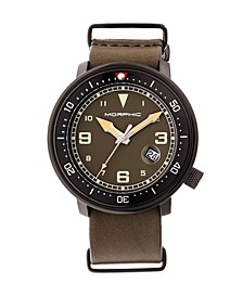 M58 Series, Black Case, Olive Nato Leather Band Watch w/ Date, 42mm