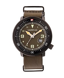 Morphic M58 Series, Black Case, Olive Nato Leather Band Watch w/ Date, 42mm