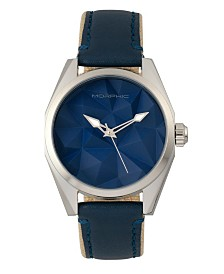Morphic M59 Series, Silver Case, Blue Leather Overlaid Canvas Band Watch, 44mm