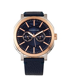 M62 Series, Rose Gold Case, Navy Leather Band Watch w/Day/Date, 44mm