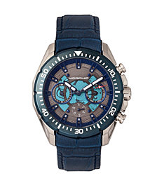 Morphic M66 Series, Skeleton Dial, Silver Case, Blue Leather Band Watch w/Day/Date, 45mm