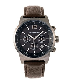 Morphic M67 Series, Gunmetal Case, Chronograph Brown Leather Band Watch w/Date, 44mm