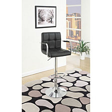 Chair Style Barstool With Faux Leather Seat And Gas Lift, Set Of 2