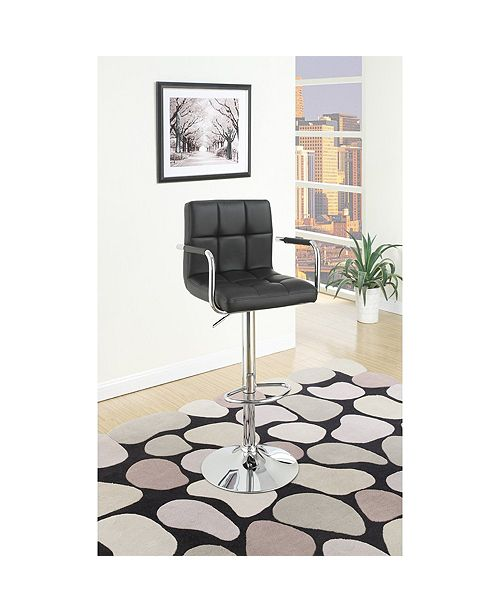 Benzara Chair Style Barstool With Faux Leather Seat and Gas Lift, Set of 2