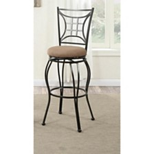 Intricate Metal Faux Suede Fabric Swivel Barstool, Black (Set Of 2)