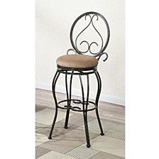 29 Inch Swivel Barstool With Designer Oval Back, Set Of 2, Black