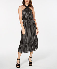 MICHAEL Michael Kors Metallic-Print Belted Dress