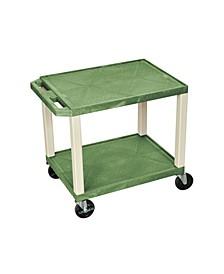 Plastic Rolling Multi-Purpose AV cart Shelf Utility Storage Cart Green and Putty