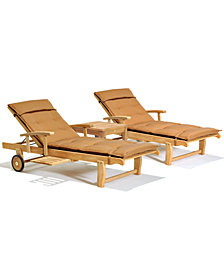 Bristol Outdoor Teak 3-Pc. Chaise Set (2 Chaise Lounge and 1 End Table, Created for Macy's