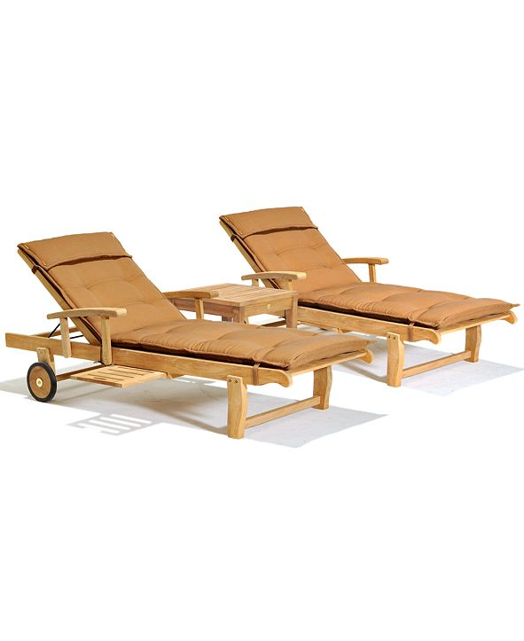 Furniture Bristol Outdoor Teak 3-Pc. Chaise Set (2 Chaise Lounge and 1 End Table, Created for Macy's