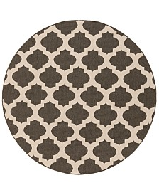 "CLOSEOUT! Surya  Alfresco ALF-9584 Black 5'3"" Round Area Rug, Indoor/Outdoor"