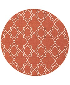 "Alfresco ALF-9591 Rust 8'9"" Round Area Rug, Indoor/Outdoor"