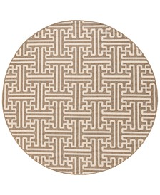 "Alfresco ALF-9599 Camel 8'9"" Round Area Rug, Indoor/Outdoor"