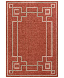 "Alfresco ALF-9631 Rust 5'3"" x 7'6"" Area Rug, Indoor/Outdoor"